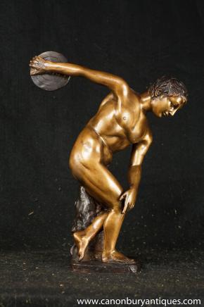 Italian Bronze Statue Discus Thrower Classic Olympian Athlete Casting