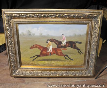 Large English Oil Painting Steeplechase Horse 7 Jockey Stubbs