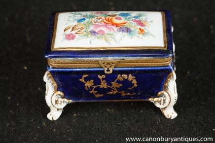 Meissen Porcelain Floral Jewellery Box Trinket Case