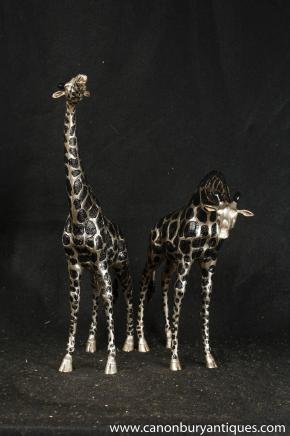 Pair Bronze Giraffe Statues Tribal Art African Animals