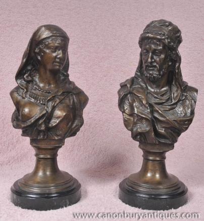 Pair French Arab Moor Busts Male Female Statue