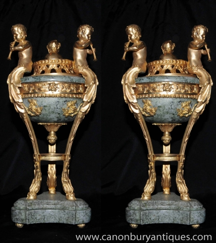 Pair French Empire Marble Cherub Bowls on Stands Urns Ormolu