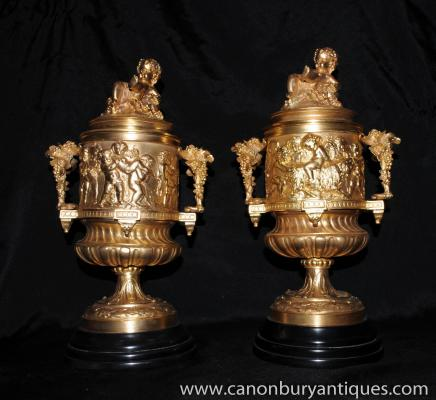 Pair French Empire Ormolu Tankards Tureens Jugs Cherub Frieze