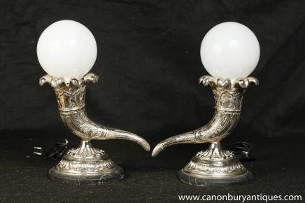 Pair French Silver Plate Horn Cornucopia Lamps Table Lights
