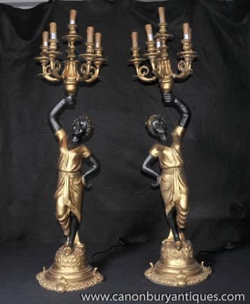 Pair Italian Blackamoor Candelabras Figurines Carved Statues Moors