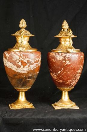 Pair Louis XV Marble Ormolu Urns Vases Amphora