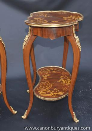Pair Louis XV Rococo Side Tables Cocktail Sofa Table
