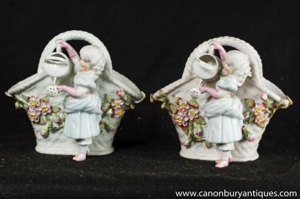Pair Meissen Porcelain Figurine Basket Vase Encrusted Floral Urn