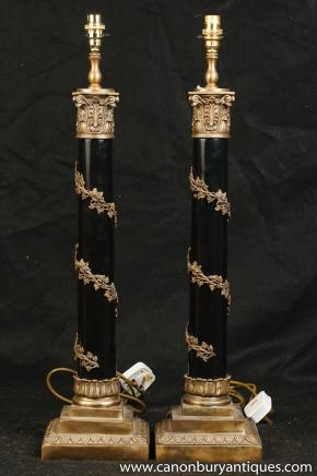 Pair Regency Corinthian Column Lamp Bases Table Lights