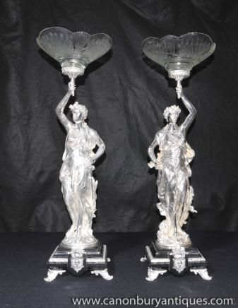 Pair Silver Plated Gregoire Figurines Comports Plate Statues