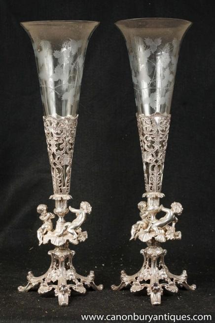 Pair Victorian Silver Plate Cherub Rose Vases Vase