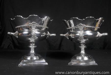 Pair Victorian Silver Plate Wine Coolers Urns Tankards Champagne Bucket