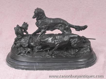 PJ Mene Bronze Statue Dog Pheasant Hunt Hound French Figurine