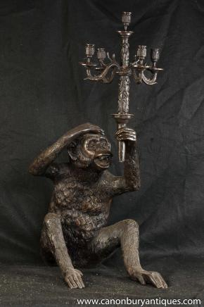 Quirky Bronze Monkey Candelabra Statue Candle Ape Primate Casting