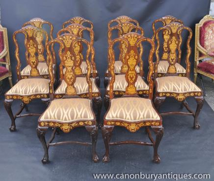 Set 10 Queen Anne Marquetry Inlay Dining Chairs Diners