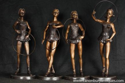 Set 4 Art Deco Hoop Ballet Dancer Female Figurine Statues