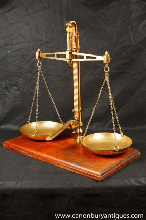 Set Antique Brass Medical Scales by Degrave & Co Circa 1900