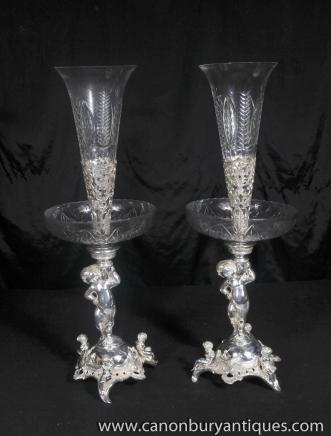 Sheffield Silver Plate Cherub Rose Vases Epergne Silverplate