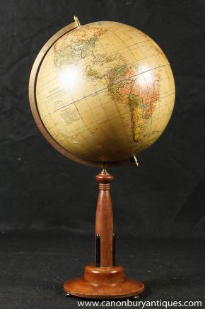 Swedish World Globe on Wooden Stand Walnut Vintage