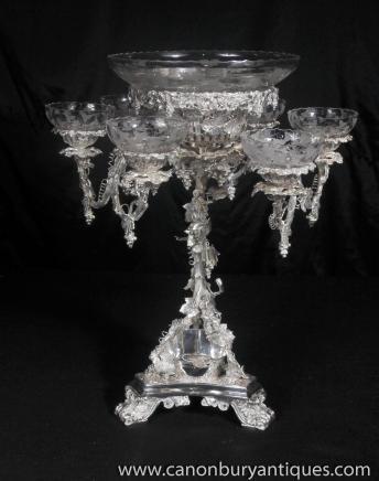 Victorian Rococo Silver Plate Epergne Centrepiece cherub Dishes