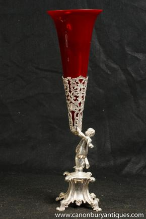 Victorian Silver Plate Cherub Rose Vase Silverplate Vases