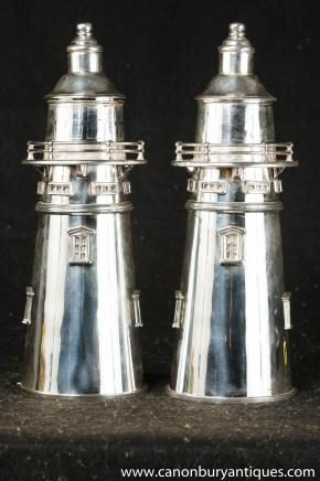 Victorian Silver Plate Cocktail Shakers Lighthouse Drinks Maker