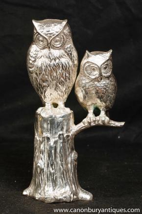 Victorian Silver Plate Pair Barns Owls Bird Prey Owl Statue