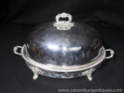 Victorian Silver Plate Platter Tray Serving Dome Meat Server