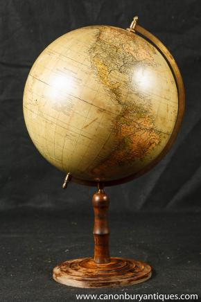 Vintage Swedish Globe World Map on Stand Interiors