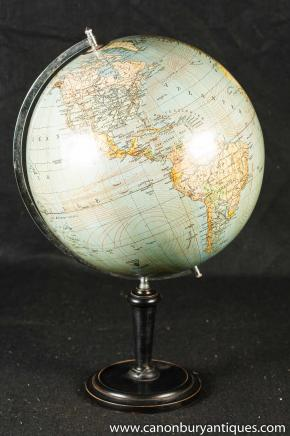 Vintage Swedish Globe World Map on Stand