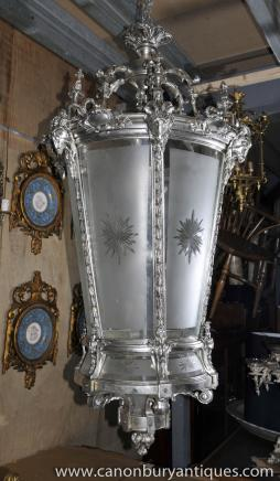 XL French Empire Silver Plate Lantern Light Architetural Chandelier