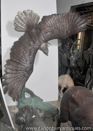 XL Great American Bald Eagle Bronze Statue Bird of Prey Architectural Bronzes