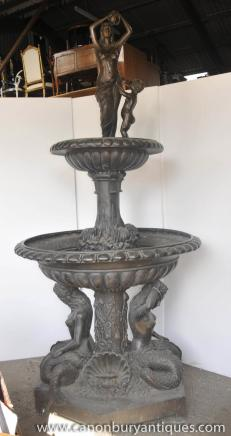 XL Italian Bronze Mermaid Tiered Fountain Architectural Water Feature