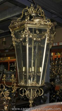 XL Louis XV Brass Lantern Light Chandeler French Lamps