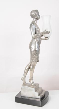 Art Deco Lady Lamp Urn