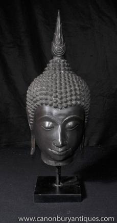 Bronze Tibetan Buddha Bust Head Statue Tibet Buddhism Buddhist