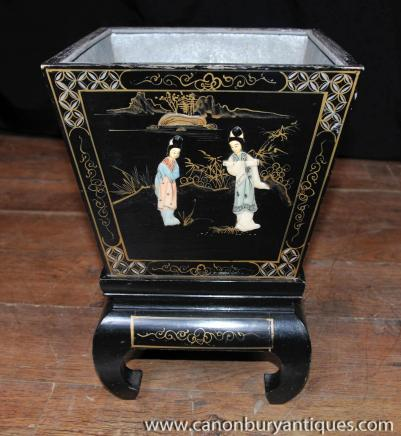 Chinese Black Lacquer Planter on Stand Chinoiserie