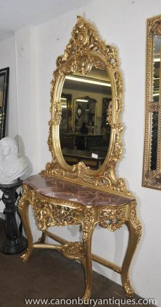French Louis XV Gilt Console Table Mirror Set Rococo