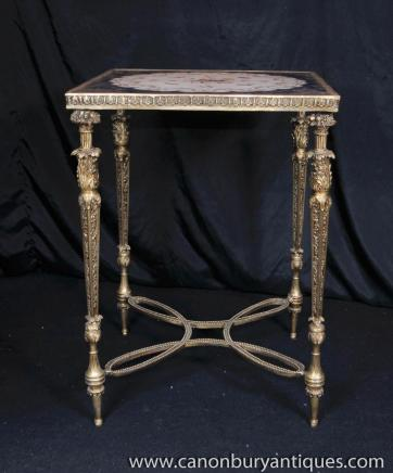 French Sevres Porcelain Side Table Ormolu Occasional Table