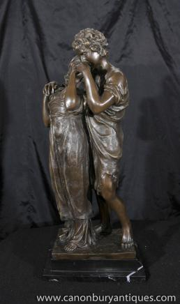 Italian Bronze Kissing Lovers Statue by Madrassi Figurine