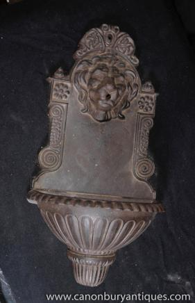 Italian Cast Iron Baroque Lion Wall Fountain Font Lionshead