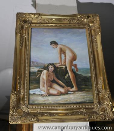 Italian Oil Painting Pair Nude Female Portraits Gilt Frame