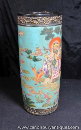 Japanese Famille Jaune Porcelain Umbrella Stand Pottery Vase