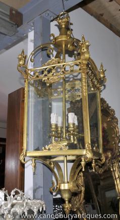 Large French Empire Brass Lantern Chandelier Light