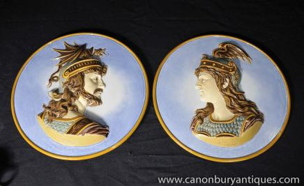 Pair Antique Norse Viking Plates Plaques Porcelain Siegfried Brunhilde