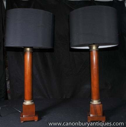 Pair Antique Regency Column Table Lamps Lights