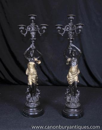 Pair Art Nouveau Bronze Candelabras Male Female Figurines Torcheres