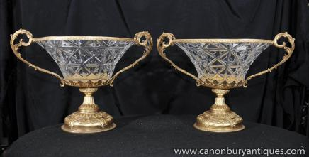 Pair Crystal Glass French Empire Urns Comports Ormolu