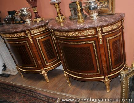 Pair French Empire Demi Lune Commodes Cabinets Gilt