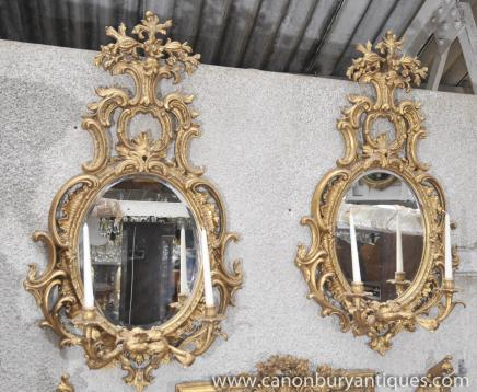 Pair French Louis XV Rococo Gilt Pier Mirrors Glass Mirror